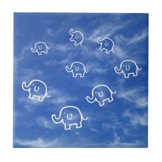 Wispy Cloud Elephants Ceramic Tile