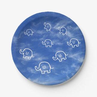 Wispy Cloud Elephants Paper Plate
