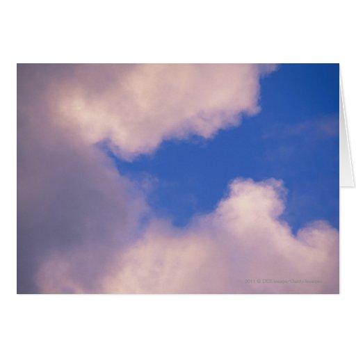 Wispy clouds against blue sky greeting card