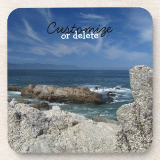 Wispy Clouds Over The Rocks; Customizable Coaster