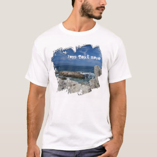 Wispy Clouds Over The Rocks; Customizable T-Shirt