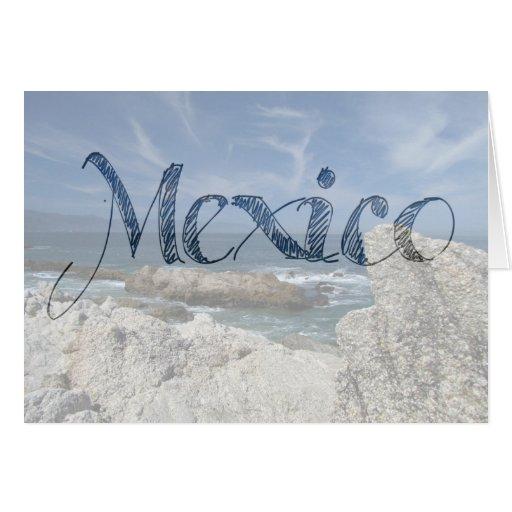 Wispy Clouds Over the Rocks; Mexico Souvenir Card