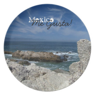 Wispy Clouds Over the Rocks; Mexico Souvenir Dinner Plate