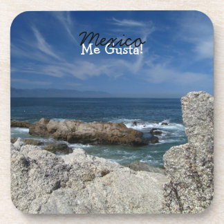 Wispy Clouds Over the Rocks; Mexico Souvenir Drink Coaster