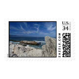 Wispy Clouds Over The Rocks Postage
