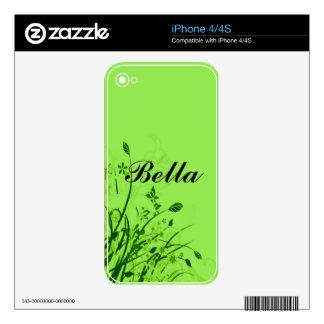 Wispy Flowers on Green Monogram iPhone 4S Decals