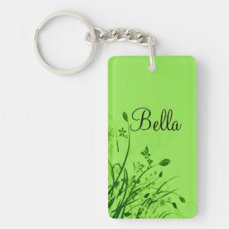 Wispy Flowers on Green Monogram Keychain