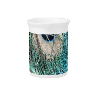 Wispy Peacock Feathers Beverage Pitcher