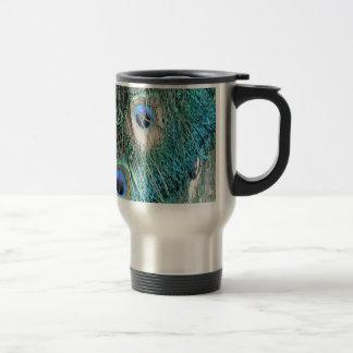 Wispy Peacock Feathers Travel Mug