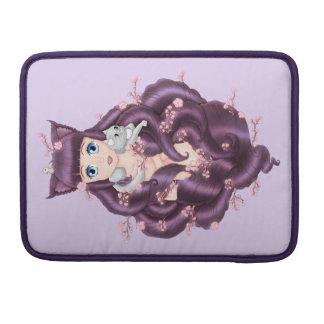 Wispy Purple Haired Neko Anime Girl Sleeve For MacBooks