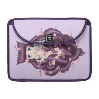 Wispy Purple Haired Neko Anime Girl Sleeves For MacBook Pro