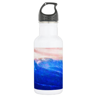 Wispy Snow in Mountains  Pink Skies Canada Water Bottle