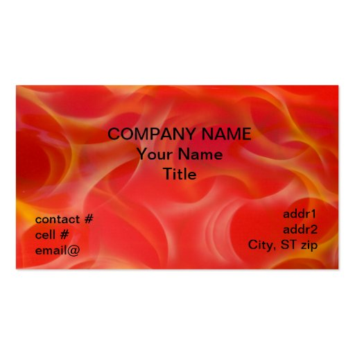 wispy yellow hotrod flames on red business cards