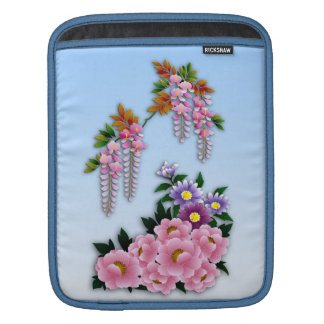 Wisteria and peonies spring blossom sleeve for iPads