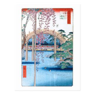 Wisteria at Kameido Shrine Hiroshige Fine Art Postcard