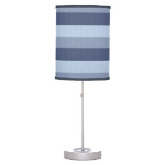 Wisteria Blue Ombre Tonal Horizontal Stripes Desk Lamp