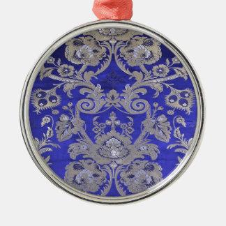 WISTERIA BLUE TIBETAN LOTUS BROCADE METAL ORNAMENT