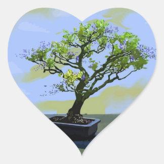 Wisteria Bonsai Tree Heart Sticker