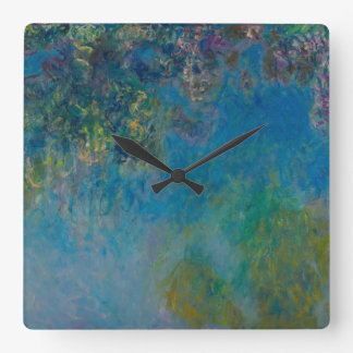 Wisteria by Claude Monet Square Wall Clock