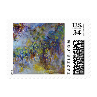 Wisteria by Monet, Vintage Floral Impressionism Postage Stamps