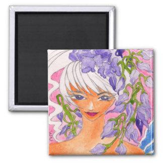 wisteria faerie square magnet