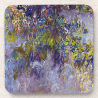 Wisteria (left) by Claudet Monet, Vintage Flowers Drink Coaster