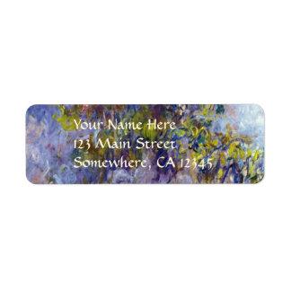 Wisteria (left) by Claudet Monet, Vintage Flowers Label