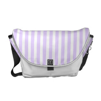 Wisteria Lilac Lavender Orchid & White Stripe Courier Bags