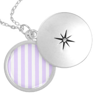 Wisteria Lilac Lavender Orchid & White Stripe Locket Necklace