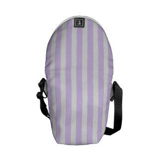 Wisteria Lilac Lavender Orchid & White Stripe Messenger Bags