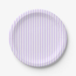 Wisteria Lilac Lavender Orchid & White Stripe Paper Plate