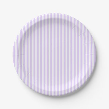 Beach Themed Wisteria Lilac Lavender Orchid & White Stripe Paper Plate