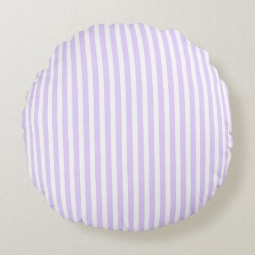 Beach Themed Wisteria Lilac Lavender Orchid & White Stripe Round Pillow