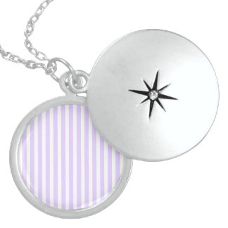 Wisteria Lilac Lavender Orchid & White Stripe Sterling Silver Necklace