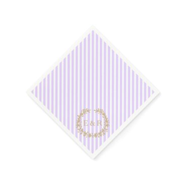 Beach Themed Wisteria Lilac Pastel Lavender Orchid Wreath/Sprig Paper Napkin
