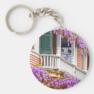 Wisteria on a Vintage Southern  Home in Savannah Basic Round Button Keychain