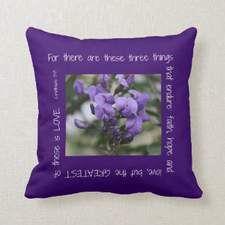 Wisteria on Purple Pillow w/ Scripture about Love