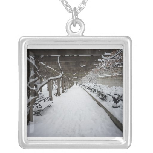 Wisteria Pergola in Winter, Central Park, NYC Square Pendant Necklace
