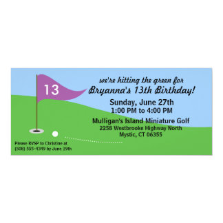 Wisteria Purple Hit the Green Golf Birthday Party Card
