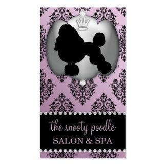 Wisteria Purple Jeweled Damask Dog Grooming/Spa Business Card Template