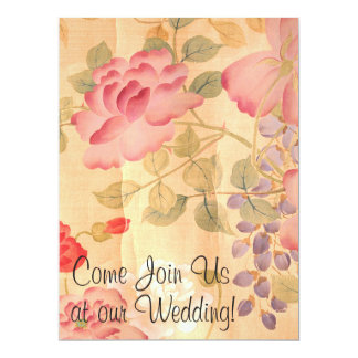 Wisteria & Roses Flowers Floral Wedding Card