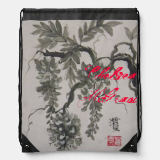 """Wisteria"" sumi-e brush painting in black ink wash Drawstring Backpack"
