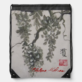 """Wisteria"" sumi-e ink wash on lilac silk Drawstring Backpack"