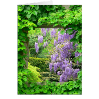 """WISTERIA THROUGH IVY COVERED OPEN WINDOW"""" GREETING CARD"""