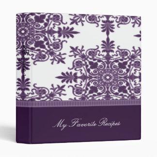 Wisteria Victorian Damask Recipe Book 3 Ring Binder