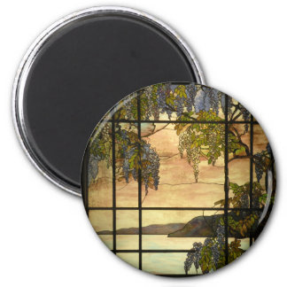 Wisteria vines in stained glass 2 inch round magnet