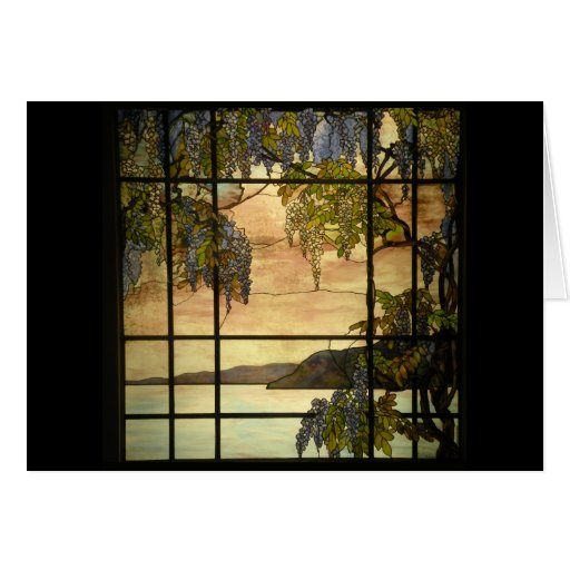 Wisteria vines in stained glass greeting cards