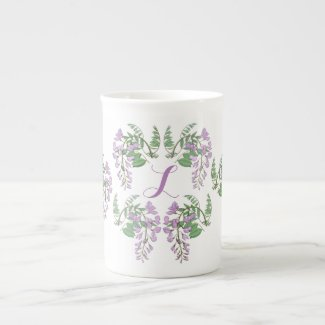 Wisteria Wreath Personalized Bone China Mug