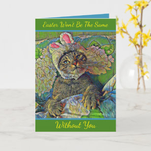 Wistful Easter Kitty - Missing Someone For Easter Card