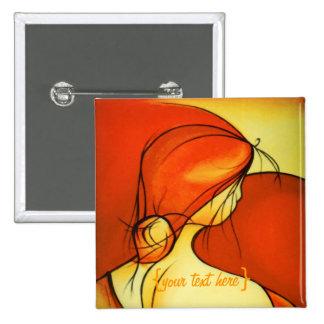 Wistful Lady In Orange Button